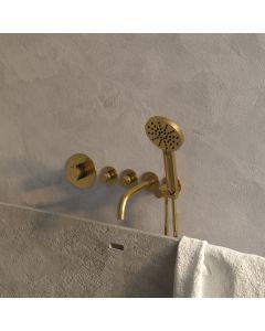 Inbouwbadkraan Thermostatisch met uitloop Set 2 Gold Edition