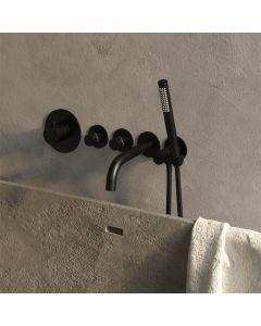 Inbouwbadkraan Thermostatisch met uitloop Set 1 incl. Staaf handdouche Black Edition
