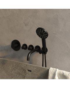 Inbouwbadkraan Thermostatisch met uitloop Set 2 incl. 3-Standen handdouche Black Edition