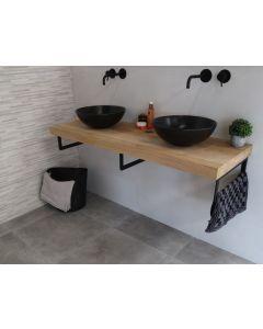 Eikenhouten badmeubelset 120cm met waskom mat zwart en inbouw wastafelkraan