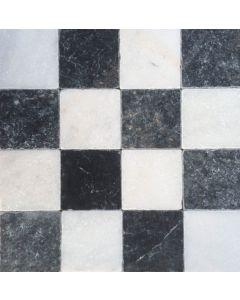 Dambord vloer wit marmer en donker hardsteen 10x10x1