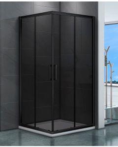 Clarke douchecabine vierkant 1000x1000 mm rookglas mat zwart