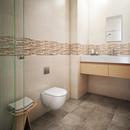 Wandtegels friso gris 25x75 - Bruine en beige badkamer ...
